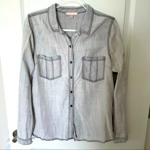Skies are Blue Grey chambray button down top